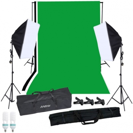 کیت روشنایی Andoer Photo Studio softbox همراه با Studio Background